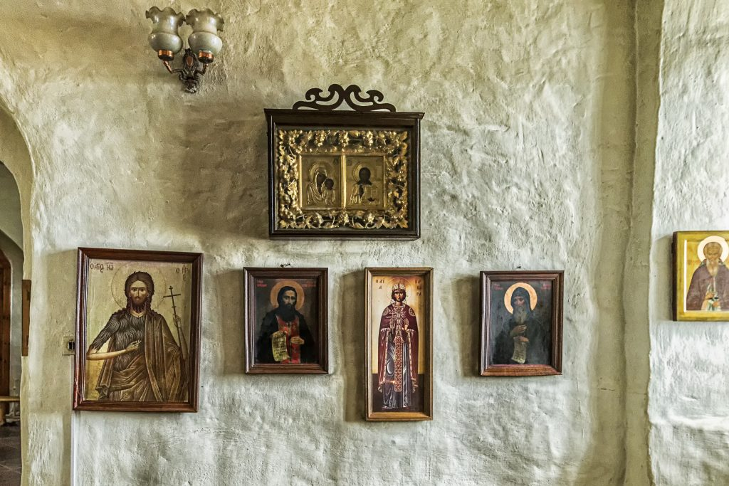 Russian Orthodox Icons in a monastery.